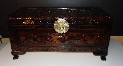 Antique Oriental Hand Carved ANGELS  Camphor Wood Chest Trunk