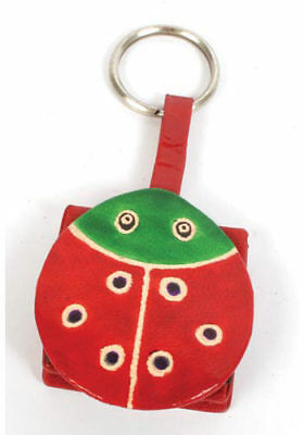 LADYBIRD COIN PURSE on KEYRING red & green recycled leather handmade fair trade