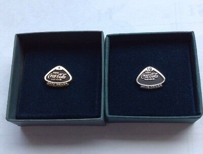 TWO (2) Vintage ENJOY Coca-Cola 5 AND 10 Year Safe Driver Award Pin Tie STERLING