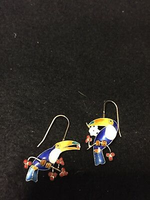 Vintage Cloisonné  Toucan On Branch Wire Earrings  Pink Purple Yellow 1 ""