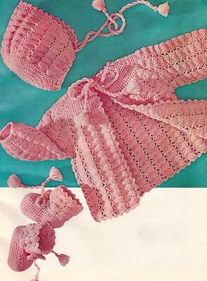 Vintage Baby Layette SHELL SET CROCHET PATTERN Sweater~Bonnet~Booties to 19""