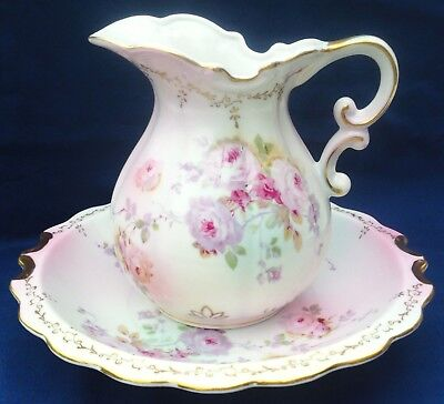 Vintage Chantilly Rose Hand Painted Porcelain Pitcher and Bowl Set Japan # 2892