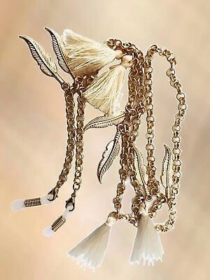 NEW Gold Belcher & Cream Tassel & Leaf Glasses Chain Necklace Strap Holder Long
