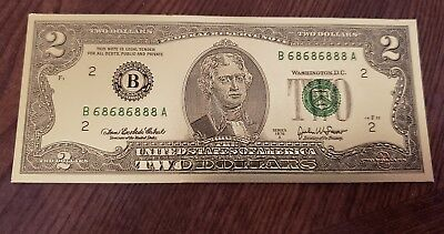 One Sided Gold TWO  DOLLAR BILL Novelty item
