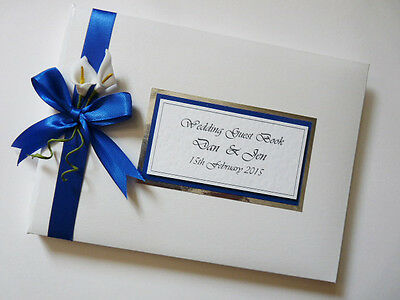 Personalised Wedding Guest Book With Lilies (Royal Blue) - Any Colour