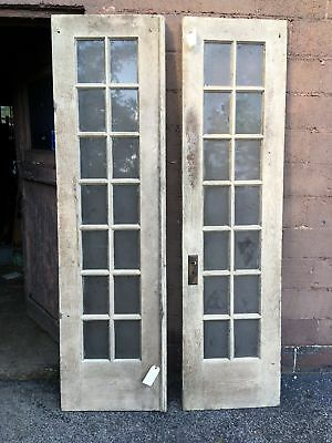 "2 Solid White Matching French Doors 14 Window Panes 90""x24"""