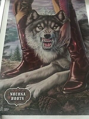 Vintage Store Display Poster Nocona Boots Lot Of 5 Pieces Alex Ebel