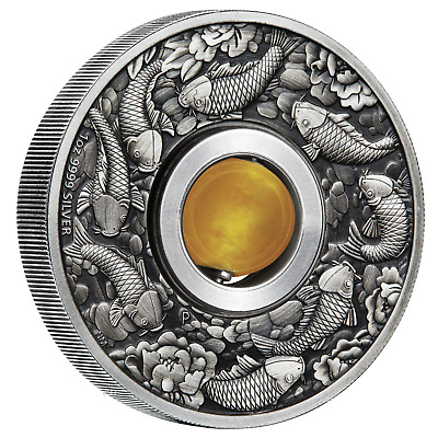 Australia GOOD LUCK ROTATING Yellow Topaz CHARM 2018 $1 1oz Silver Antiqued Coin
