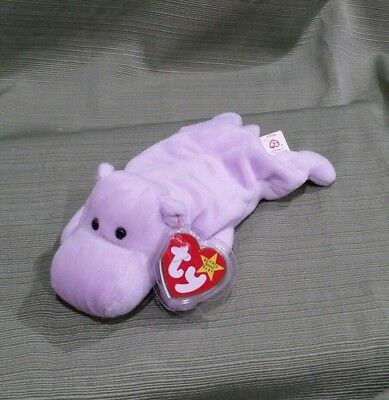 MNWT RETIRED TY 1993 94 Happy the Hippo Beanie Baby DOB  February 25 ... c83eace82958