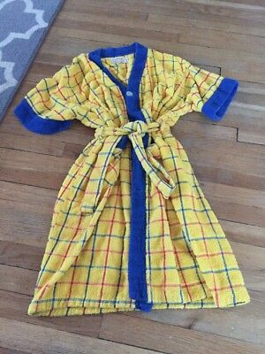 Vtg 60s Weldon Arnold Palmer L Mens Shave Coat Robe Cotton Terry Yellow Blue