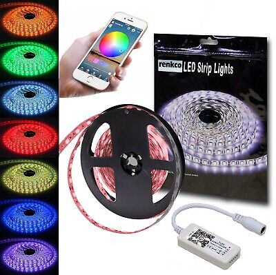 5050 RGB 5M 300 LEDS Non Waterproof IP20 Led Strip Lights 12V + Bluetooth Contro