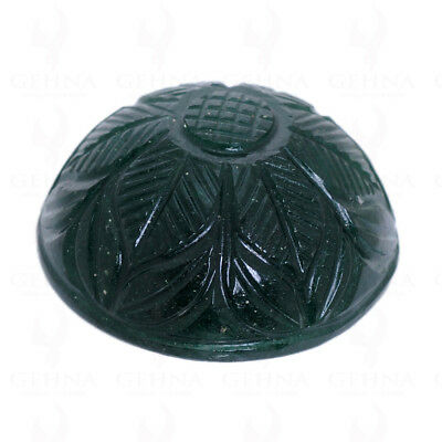 102.00 Cts Huge Size Natural Emerald Hand Carved Round Shaped Gemstone Ss1056
