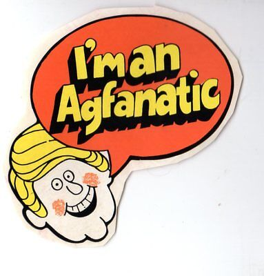 Genuine Vintage 1970's I'm an Agfanatic AGFA Promotional Die-cut Sticker EXC