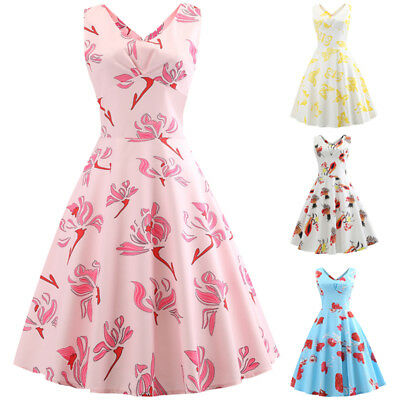 AU Womens Sleeveless Floral 50s 60s Vintage Rockabilly Ladies Party Swing Dress