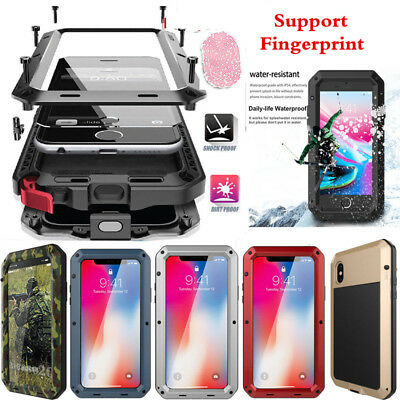 Heavy Duty Waterproof Shockproof Metal Gorilla Glass Case Cover For iPhone Xs Xr
