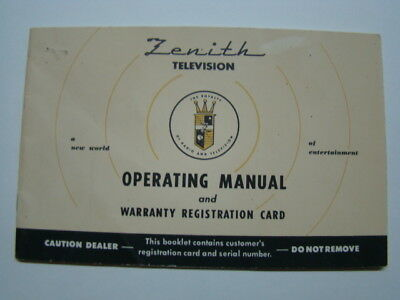 Zenith Television Operating Manual 19721973 Vintage 864 Picclick. Zenith Television Operating Manual Warranty Registration Card 1950's. Wiring. Zenith 5g03 Wiring Diagram At Scoala.co