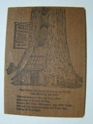 World's Famous Tree House Percy CA Souvenir Redwood Wooden Postcard 1950's