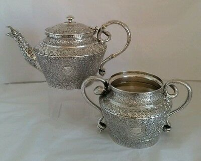 A C19th high grade silver Tea pot and sucrier. Islamic /Persian /Indian Kutch?