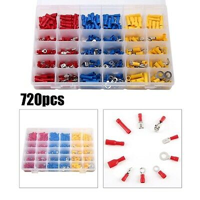 720 Assorted Insulated Electrical Wire Terminals Crimp Connectors Spade Set