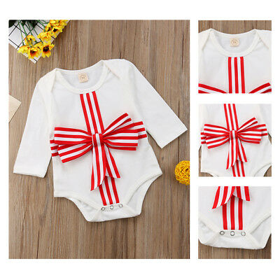 Newborn Baby Girl Clothes Long Sleeve Bowknot Jumpsuit Romper Bodysuit Outfits
