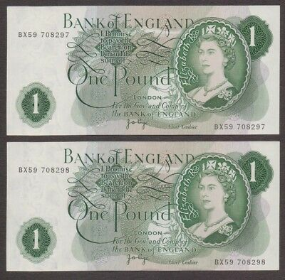 Bank of England Great Britain Banknote - 1 Pound - Consecutive Number Lot of 2