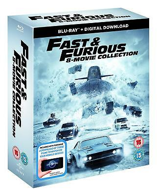 FAST AND FURIOUS Box Set 8 1-8 Blu Ray Complete Collection NEW Region Free