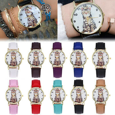 Women Girl Stylish Cute Cat Pattern Leather Band Analog Quartz Vogue Wrist Watch