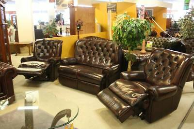 A Chesterfield 3 Piece Suite with 2 Recliners 100% Leather 5 Year Warranty