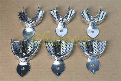 6PCS Dental Impression Trays Stainless Steel Metal Upper Lower Autoclavable