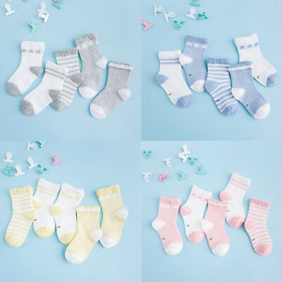 US 5 Pairs Newborn Baby Boy Girl Cotton Socks Infant Toddler Kid Soft Cute Sock