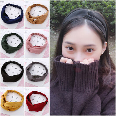 Fashion Women Spring Suede Headband Bohemian Vintage Cross Knot Elastic Hairband
