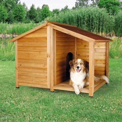 Wooden Dogs Kennel House Log Cabin Porch Dog Kennels Waterproof Home NEW wood