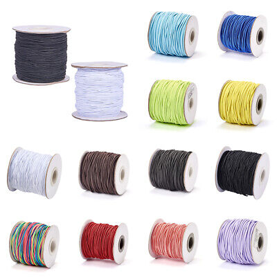 Round DIY Elastic Cord with Nylon Outside Rubber Inside For Jewelry 1-2mm
