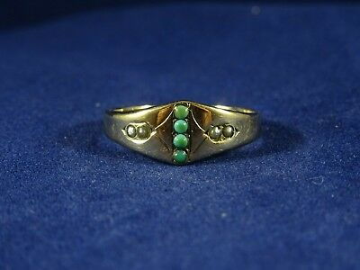 Art Deco Egyptian Revival 9ct Gold Turquoise & Pearl Ring size L1/4