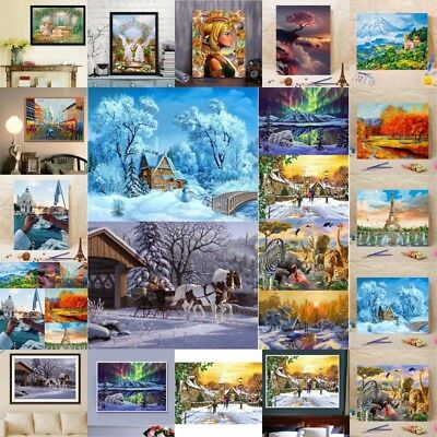 AU Frameless DIY Oil Painting Scenery By Numbers Kit Art Paint Home Decors Gifts