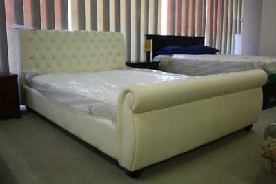 A Queen Size Chesterfield Bed 100% Leather with Crystal Studs - 5 Year Warranty