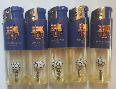 Brand New Lot of 5 Fc Barcelona Lighters Unused With Ball Inside Refillable