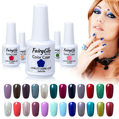 FairyGlo UV LED Gel Nail Polish Top and Base Coat Soak Off Manicure Varnish 15ml