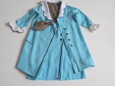 Easter VINTAGE Girls Dress Coat Sz 7 Two Piece LILY BEE Frock Blue Brown Formal