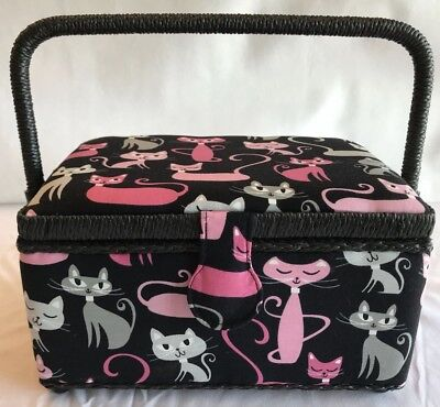 Sewing Basket Box Black / Pink / Grey Cats Kittens - Medium - Craft Storage Gift