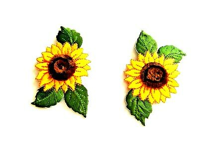 2pc  SUNFLOWER EMBROIDERED IRON ON APPLIQUE / PATCH