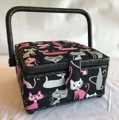 Sewing Basket Box Black / Pink / Grey Cats Kittens - Small - Craft Storage Gift