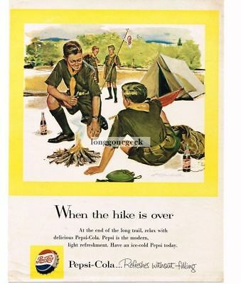 1955 PEPSI-COLA Boy Scouts Camping Out Tent Campfire R T HANDVILLE VTG PRINT AD