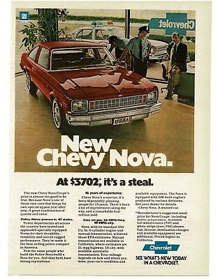 1978 Chevrolet Chevy Nova RED 2-door Coupe Police VTG PRINT AD