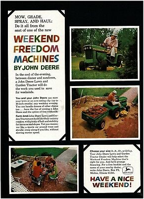 1968 JOHN DEERE Lawn Garden Tractor Weekend Freedom Machine VTG PRINT AD