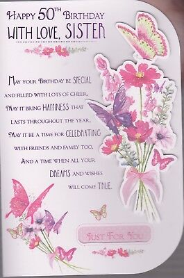 Sister 50th Happy Birthday With Love Card