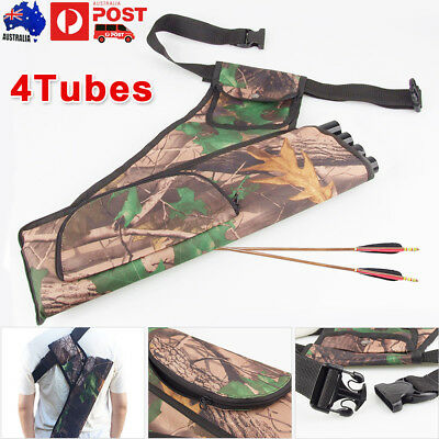 4 Tubes Camo Compound Bow Arrow Holder Archery Backpack Bag for Outdoor Hunting