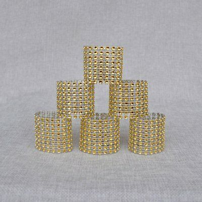 10PCS/SET 8 Rows Rhinestone Napkin Rings Wedding Hotel Home Napkin Holders WN