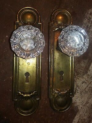 pair of vintage glass door knobs fasten to matching back plates 4 crafting hooks