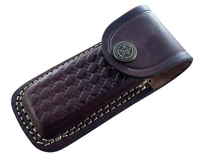 Handmade real leather  sheath pouch cover case holder for folding knife 4 Inches